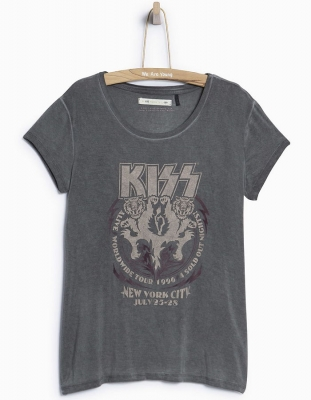 "WAY by IKKS Stardust T-Shirt ""KISS"" noir ---NEU---"