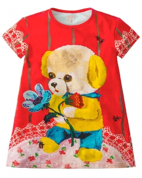 "Room Seven® Kurzarm-Jerseykleid Tatoua ""yellow bear"" orange"