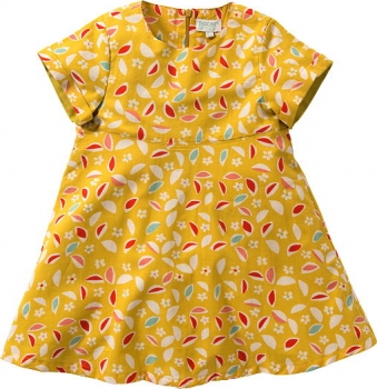 Room Seven® Kurzarm-Kleid Dama leaves print yellow