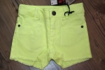 Sorry4theMess fransige Jeans-Shorts jaune fluo
