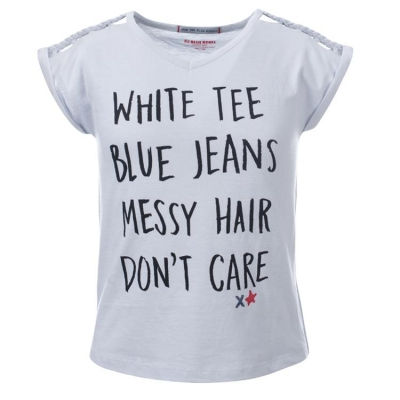 Blue Rebel spot on Slogan T-Shirt pearl