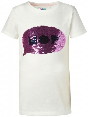 NOP girls Wende-Pailetten T-Shirt Luding off white