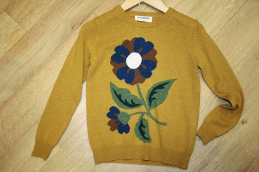 nice things Pullover Con Flor Intarsia flower yellow dijon
