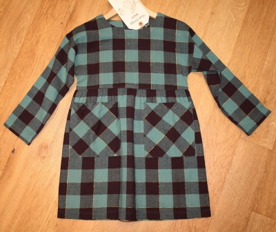 "nice things Kleid ""Lurex checks"" medium green"
