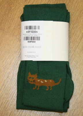 "nice things Strumpfhose ""Cat"" Intarsia medium green"