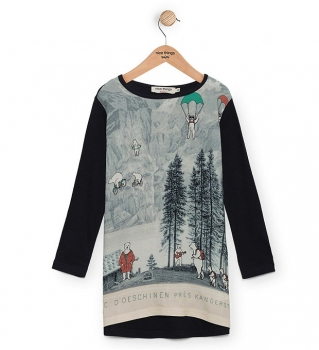 nice things Langarm-Jerseykleid Mountains and Bears navy