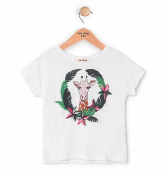 nice things T-Shirt Giraffe Circle white