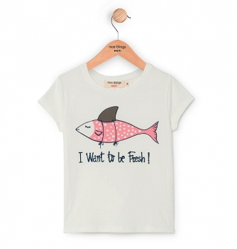 "nice things T-Shirt ""Fresh Fish"" off white"