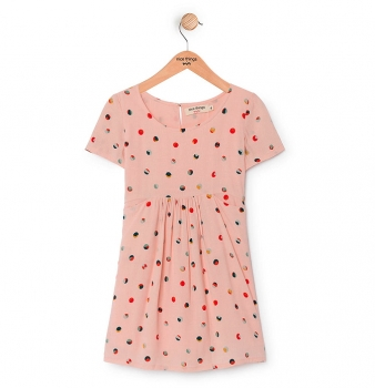 "nice things Kurzarm-Kleid ""Geometric Dots"" light pink"