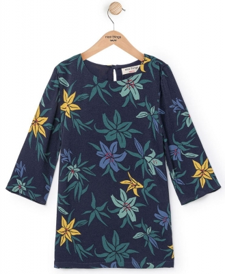 "nice things Kleid ""Liliums Print"" navy"