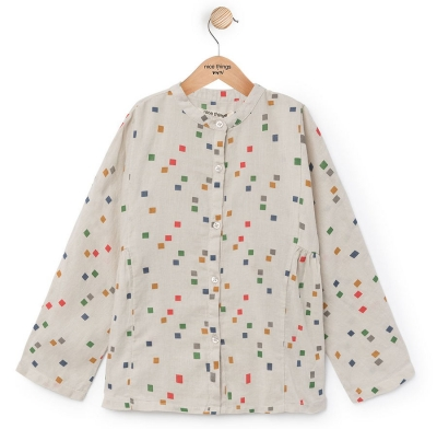 "nice things Bluse ""Small Pixels"" melange grey"