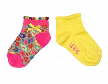 "LeBig 2er Pack ""Leopard""  Kurz-Socken grey-multi/yellow"