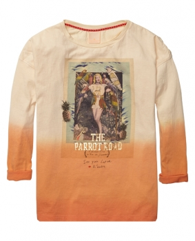 "Scotch R'Belle boxy fit Langarmshirt ""Parrot Road"" peach"