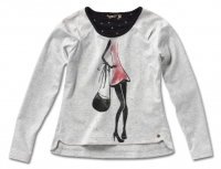 "NONO Winter Langarmshirt ""stylish girl"" light melange grey"