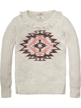 Scotch R'Belle crewneck Pullover mit Intarsien artwork Dessin F