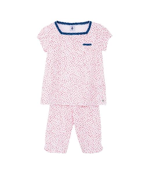 a3c14554c8 Petit Bateau Mädchen kurzer Schlafanzug/Pyjama ecume/brulant ---nur noch  Größe