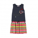 "boboli kids girl ""Watercolor Rainbow"" ärmelloses Kleid antracita"